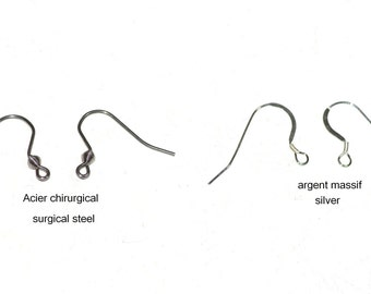 1 Hook earrings silver or steel chirurgical_anti allergy_fo all the earings in the store