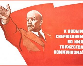 "Russian Soviet Communist leader Lenin ""Ahead to communism"" big poster"