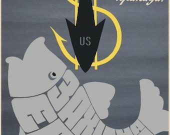 "Cold war period USSR Communist ""Europe, beware of bait!"" poster"