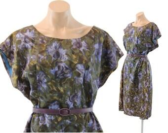 Vintage 50s Sheath Dress Purple Watercolor Floral Silk  Short Sleeve Spring Fashion 1950s XL Plus Size