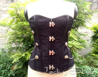 Punk Clothing Corset Bustiers With Chain Black Brocade Gothic Bustier Steel Boned Corset Top Victorian Inspired Overbust Corset