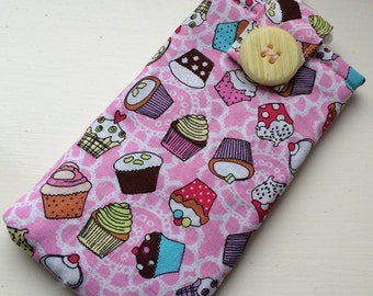 Pink Cupcakes Fabric Phone Case, phone case glasses case cupcakes fabric case pink case
