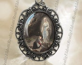 Vintage Religious Catholic Medal Pendant Jewelry Virgin Mary At Sacred Spring