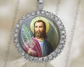 St. Jude Religious Catholic Silver Tone Medal Pendant / Charm Cabochon