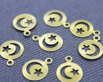 250 Raw Brass Moon and Star Charms 10mm (GB-1043) Moon Star Pendant, Brass Star Charms, Brass Moon Charms, Gold Moon Star Charm, Gold Moon