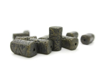 Vintage Lucite Gunmetal Gold Tube Beads 18mm, 10 pieces