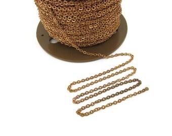 3mm Vintage Brass Curb Chain, 5 Feet