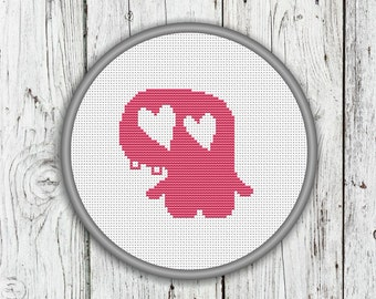 Cute Love Monster Counted Cross Stitch Pattern, Valentine's Day Monster - PDF, Instant Download
