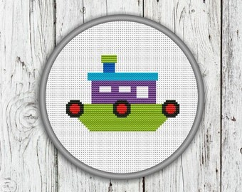 Little Ship Counted Cross Stitch, Steamer, Steamboat, Steamship, Needlepoint Pattern - PDF, Instant Download