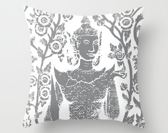 Buddha Pillow Cover - Namaste Throw Pillow - Slate Grey and White - By Aldari Home