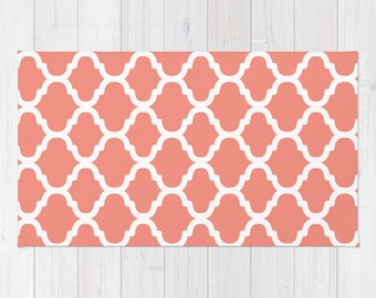 Moroccan Pattern Area Rug - Coral and White - Modern Home Decor
