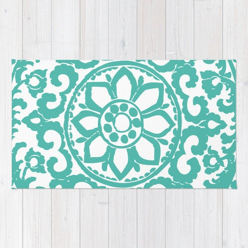 Floral Medallion Rug Art Deco Area Rug Aqua Blue And White