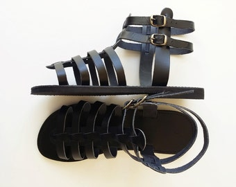 Black Leather Gladiator Sandals - Men Leather Greek Sandals -  Handmade Sandals
