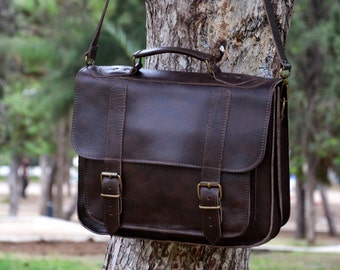 Leather Messenger Bag - 13 inch Laptop Bag - Dark Brown Leather Briefcase - Laptop Bag - Shoulder Bag - For Him