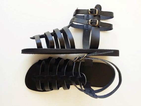 Letherhood Custom Men's Gladiator Sandals in Black