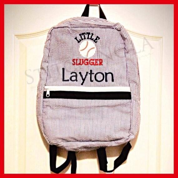 Seersucker Backpack with Little Slugger Baseball, Seersucker Diaper Bag, Seersucker School Bag, Seersucker Bag, Diaper Bag, School Bag