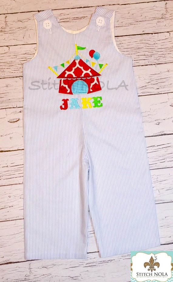 Seersucker Shortall or Longall with Circus Tent Applique