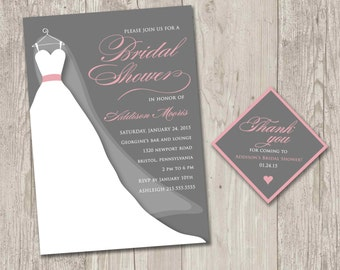 Wedding Dress Bridal Shower Invitation, Wedding Gown Invite, Wedding Shower