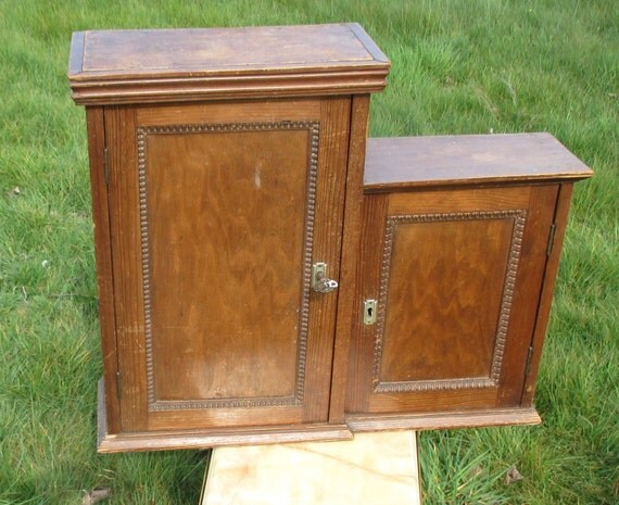 vintage pine wood medicine wall cabinet apothecary by