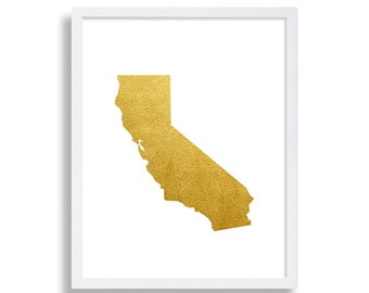 California Art Print Faux Gold Foil Poster Interior Design Home Staging Living Room Modern Decor Gold Print The Golden State San Francisco
