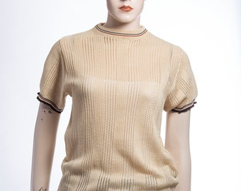 Vintage 1970's - round neck - cream - string - t-shirt - casual - medium