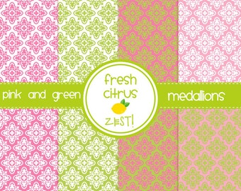 Pink and Green Digital Paper Medallions