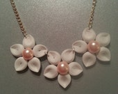 Plumeria collection bib necklace with small white paper flowers