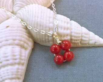 Sterling Silver with Coral Gemstone Necklace.