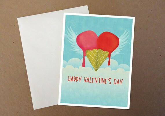 Ice Cream Heart Valentine Card