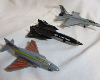 Toy Jet Airplane Collectables, Die Cast Metal, Set of Three, 1970's and 1980's