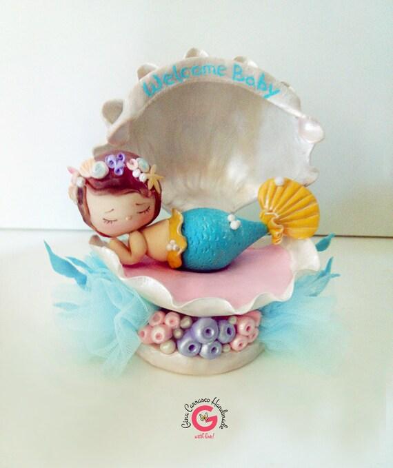 baby shower cake topper baby mermaid in shell cake topper handmade