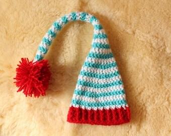 Crochet Striped Pixie Hat