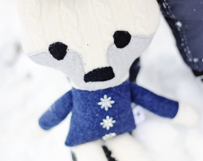 Arctic fox upcycled luxury soft toy