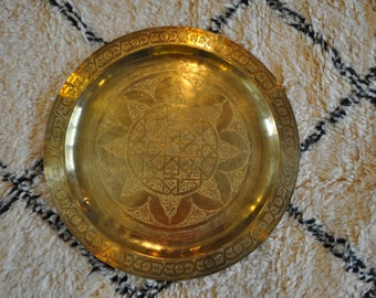 Vintage Moroccan Brass Tea Tray 21cm diameter