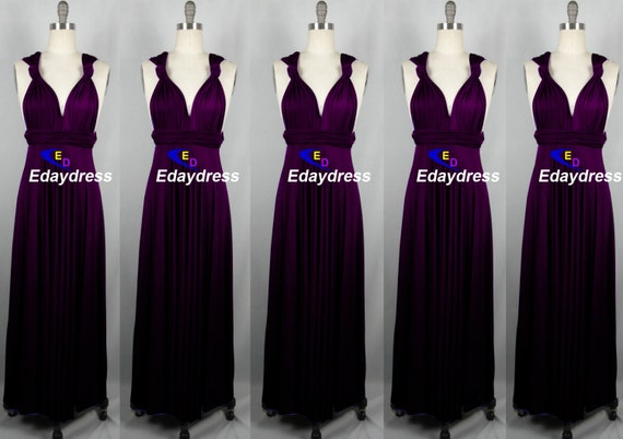 Maxi full length bridesmaid infinity convertible wrap dress for Purple maxi dresses for weddings