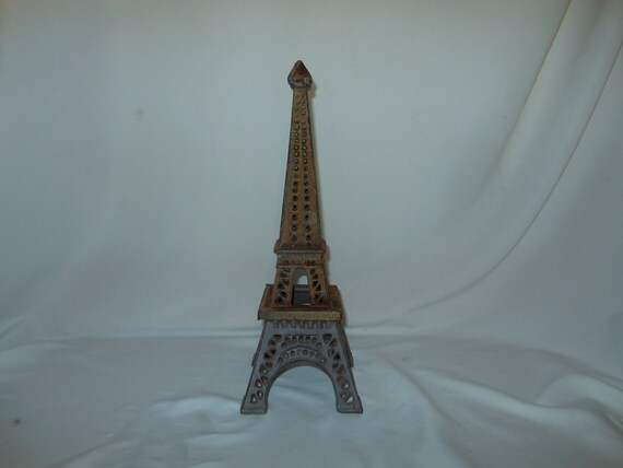 Large Vintage Rusty 14 2 Piece Cast Iron Eiffel Tower