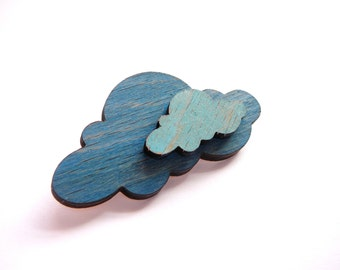 Blue on Blue Brooch- Wood Brooch - Raincloud Brooch - Cloud Brooch- Wooden Brooch