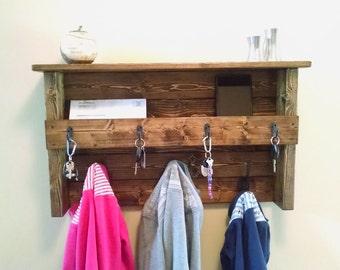 Large Entryway Coat Rack Organizer - Custom Hanging Coat Rack Mail, Phone and Key Organizer