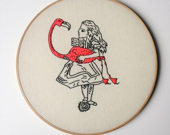 Alice In Wonderland Flamingo Croquet Embroidery Art