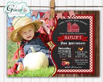 Farm Birthday Invitation, Old McDonald Invitation, Country Birthday Invitation, Barnyard Birthday Invitation, Chalkboard Birthday Invtation