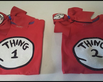 Thing 1 or Thing 2 Shirt and Hairbow