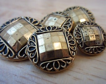 BUTTONS: Set of Five Gold and Black Vintage Style Buttons 15mm-25mm