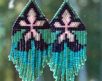Handcrafted Seedbeaded Earrings with Iris Flower Design