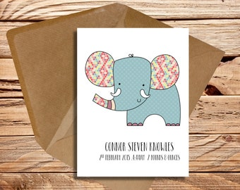 Personalised new baby card elephant themed