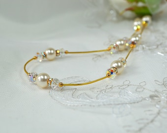 Ivory pearl wedding necklace Delicate illusion necklace Crystal pearl bridal necklace Bridal pearl jewelry Crystal pearl wedding jewelry