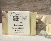 Lemongrass & Lavender Soap - 100% all natural Organic Olive oil homemade soap gentle mild real castile pure naked soap simple nothing added