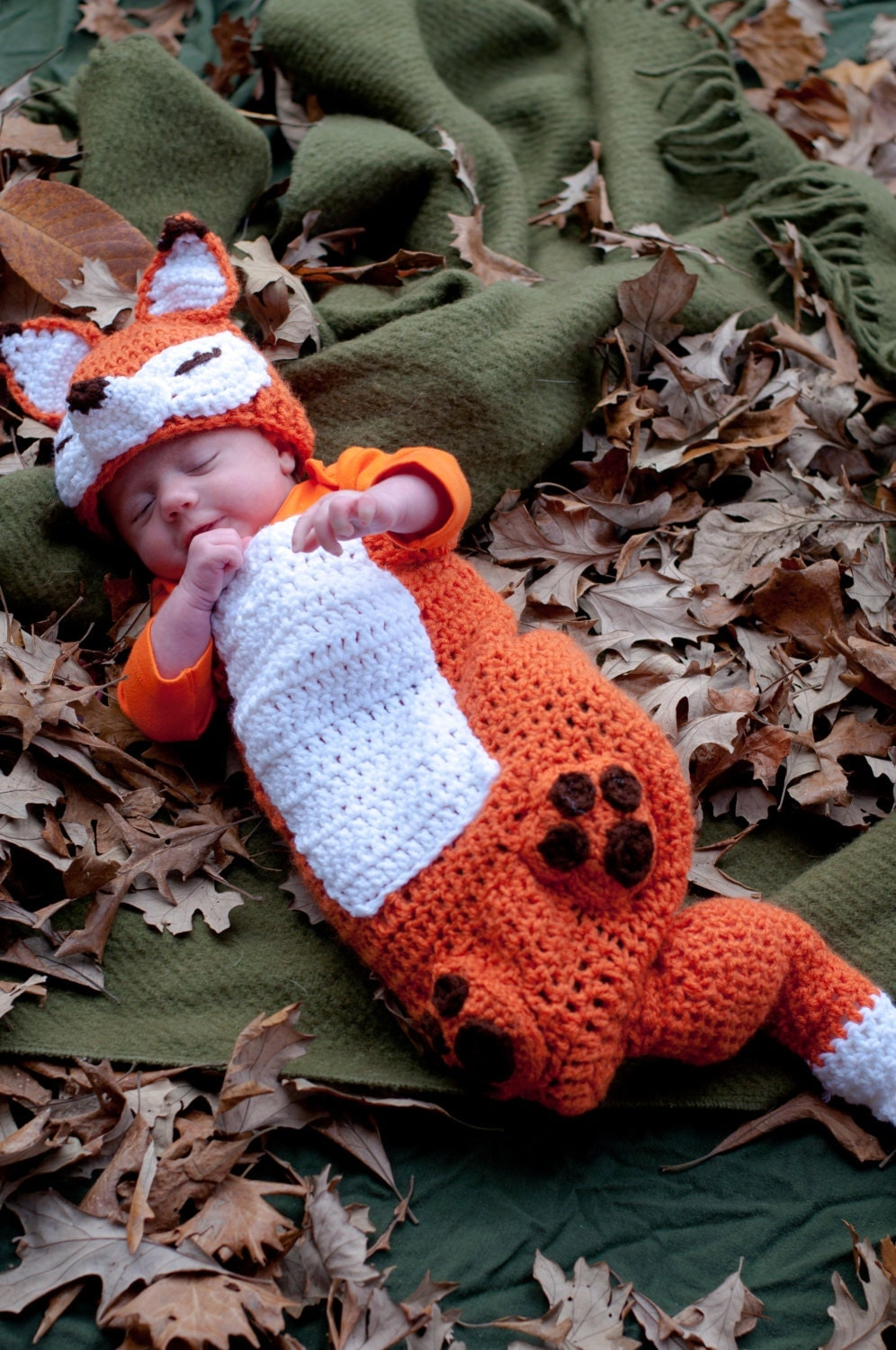 Fox Crochet Baby Outfit And Hat 0 3 Months Photo Prop