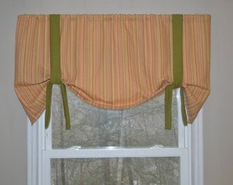 Window Valance, Window Treatment, Tie Up Valance, Girls Valance, Yellow, Nursery Valance, Stripe Valance, Green Valance, Pink Valance,