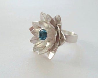 Lotus Ring - Blue Topaz Ring - Sterling Silver Ring - Flower Ring - made to order