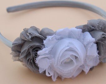 Gray headband girls plastic headband white satin hard headband toddler headband shabby chic girls headband white and grey headband
